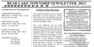 Bear Lake 2013 Newsletter